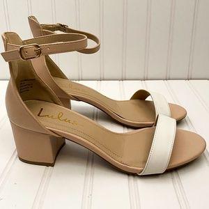 Lulus Harper Color Block Sandal Ankle Strap Heels